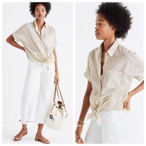 Madewell Striped Button Down Tie Front Top Small